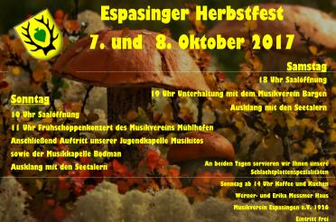 Espasinger Herbstfest am 7. und 8. Oktober 2017